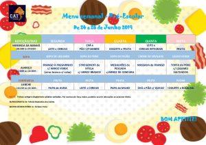 Ementa Pré-escolar de 24 a 28 Junho