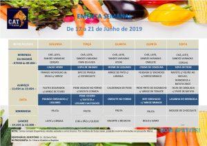 Ementa geral de 17 a 21 Junho