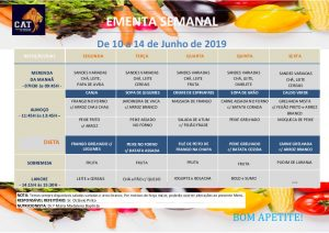 Ementa geral de 10 a 14 Junho