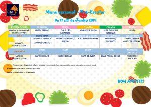 Ementa Pré-escolar de 17 a 21 Junho