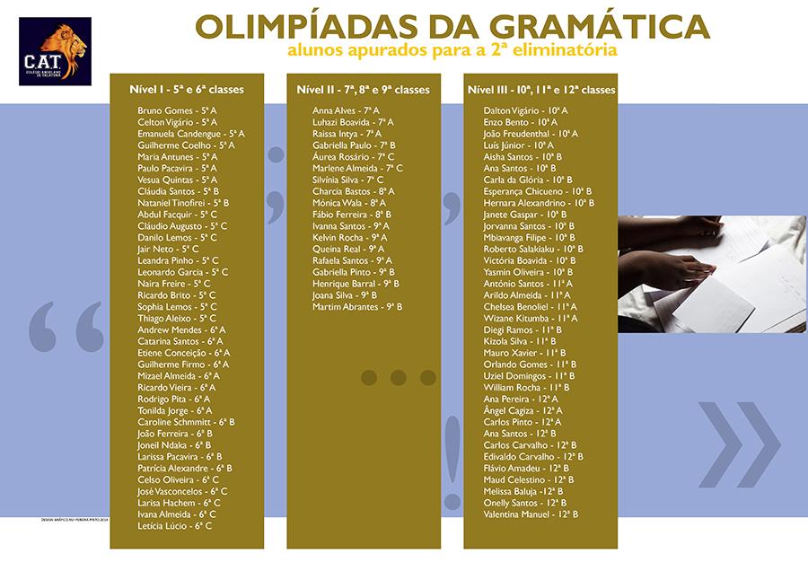 Alunos apurados para a 2ª eliminatória das Olimpíadas da Gramática